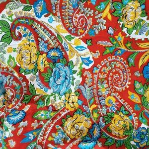 """Vintage Red Floral Paisley Cotton Fabric 2y X 45"""""""